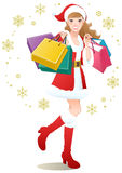 Santa Girl shopping Christmas gifts Stock Image