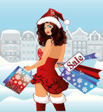 Santa girl shopping city Stock Photography