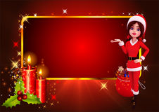 Santa girl showing candles on red background Royalty Free Stock Photo