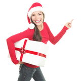 Santa girl showing copy space Stock Images