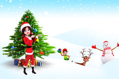 Santa girl is showing happy snow man Royalty Free Stock Photography