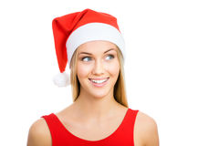 Santa girl shows a white space Stock Image