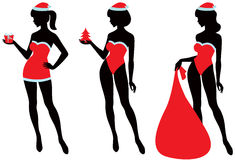 Santa girl silhouette Stock Images