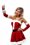 Santa girl with small disco ball Royalty Free Stock Photos