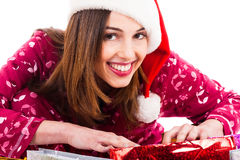 Santa girl smiling Stock Image