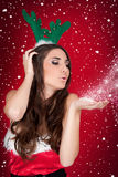 Santa girl, snow, christmas Royalty Free Stock Images