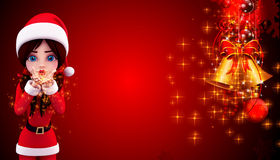 Santa girl spreading magical dust Royalty Free Stock Photo