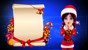 Santa girl is spreading a magical dust Royalty Free Stock Images
