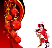 Santa girl standing with red background Royalty Free Stock Photo
