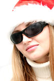 Santa girl  in sun glasses Royalty Free Stock Images