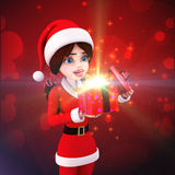 Santa girl is with surprise gift box Stock Images