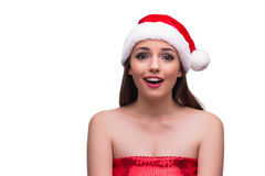 The santa girl surprised look isolated on white Stock Image