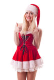 Santa girl with thumbs up gesture Royalty Free Stock Photo