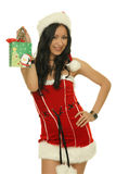 Santa girl tiny happy gifts Stock Photo