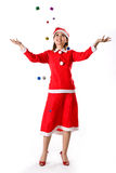Santa girl tiny happy gifts Royalty Free Stock Images