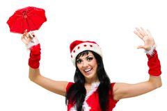 Santa girl with an umbrella against isolated white Stock Image