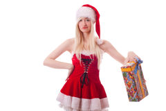 Santa girl is upset because of a bad gift Stock Image