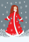 Santa girl vector illustration Royalty Free Stock Images