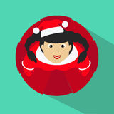 Santa girl. Vector Illustration. top view on a green background Royalty Free Stock Photo