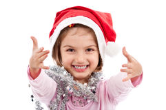 Santa girl waiting for embrace Royalty Free Stock Photos