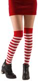 Santa girl wearing stripey socks. On white background Stock Photography