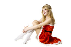 Santa girl on a white background Stock Photography