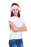 Santa girl in white t-shirt posing Stock Images