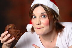 Santa Girl With Cake Royalty Free Stock Photography