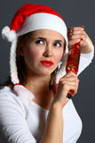 Santa girl wondering stock images