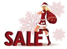 Santa-girl and word SALE in 3D image.  Royalty Free Stock Image