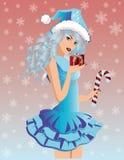 Santa  girl with xmas gift Royalty Free Stock Images