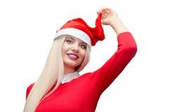 Santa girl. Young model with santas cap Stock Photos