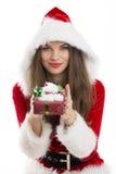Santa girll holding a gift box Stock Photography