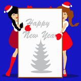 Santa girls Christmas New Year on blue background  illustration of a sheet  white paper for writing text. Santa girls Christmas New Year on blue background Stock Photo
