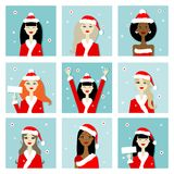 Santa girls, christmas postcards for your design. Vector illustration stock illustration