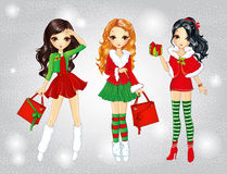Santa Girls Do Christmas Shopping Fotografia de Stock Royalty Free