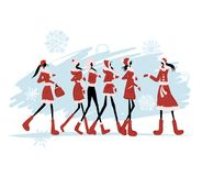Santa girls for your design Stock Photo