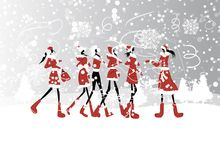 Santa girls for your design Royalty Free Stock Photo