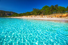 Santa Giulia beach with azure clear water, Corsica, France Stock Photo