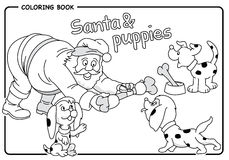 Santa gives a bone to puppies in Christmas - Coloring draw Royalty Free Stock Images