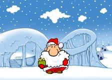 Santa gives gift Royalty Free Stock Image
