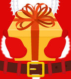 Santa gives gift for Christmas. Box with bow. Red ribbon and yel. Low case. holiday Illustration for new year. Xmas design template Royalty Free Stock Photo