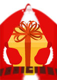 Santa gives gift for Christmas. Box with bow. Red ribbon and yel. Low case. holiday Illustration for new year. Xmas design template Royalty Free Stock Photography