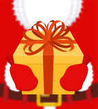 Santa gives gift. Christmas present. Box with bow. Red ribbon an Royalty Free Stock Photo