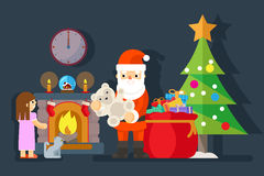 Santa gives gift to little girl near fireplace. Teddy bear and tree xmas, present for child, vector illustration Stock Photos