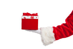 Santa giving Christmas presents white Stock Photo
