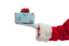 Santa giving Christmas presents on white Stock Photo