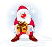 Santa giving a gift stock illustration