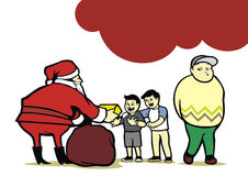 Santa Giving Presents. Santa is giving presents to kids and an adult who is trying to impose as a kid to get a present from Santa Stock Illustration