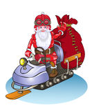 Santa goes on a snowmobile, it is lucky people gifts. Stock Photography